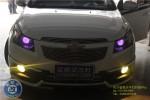 雪佛兰科鲁兹改装双光透镜氙气灯加装恶魔眼...精灵改装车灯邵阳改灯